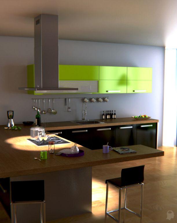 Cuisine et salon avec vue sur la ville vertex in polygon for Salon et cuisine